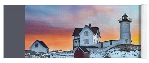 Fiery Sunrise At Cape Neddick Lighthouse Yoga Mat