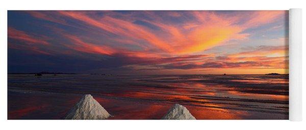 Fiery Sunset Over The Salar De Uyuni Yoga Mat