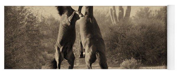 Fighting Stallions Yoga Mat