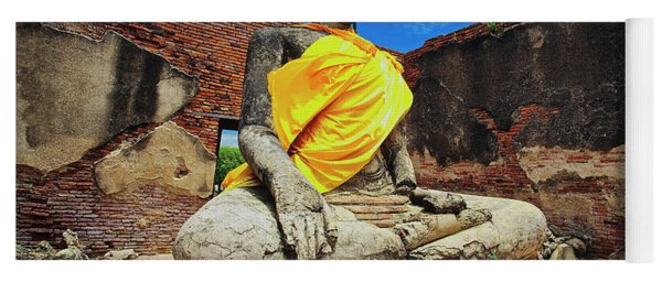 Finding, Not Seeking At Wat Worachetha Ram In Ayutthaya, Thailand Yoga Mat