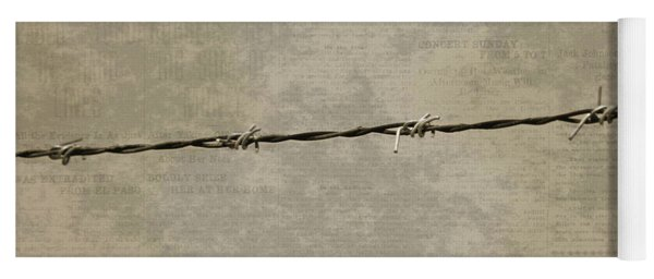 Fine Art Photograph Barbed Wire Over Vintage News Print Breaking Out  Yoga Mat