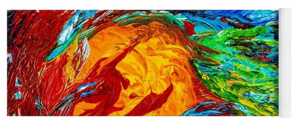 Fire And Ice Elementals - Impasto Abstract Yoga Mat