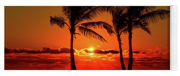 Fire Sunset Through Palms Yoga Mat