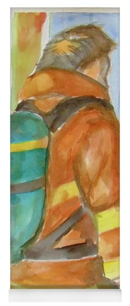 Yoga Mat featuring the painting Fireman by Loretta Nash