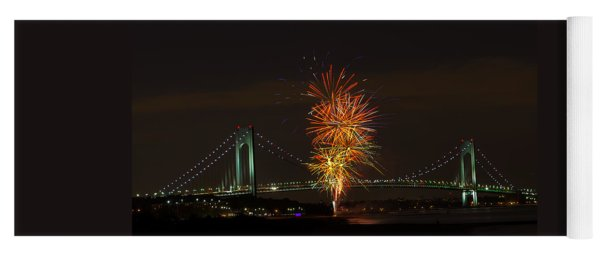 Fireworks Over The Verrazano Narrows Bridge Yoga Mat