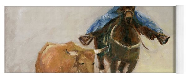 First Bulldogger Bill Picket Oil Painting By Kmcelwaine  Yoga Mat
