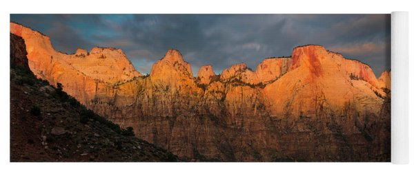First Light On The Towers - Zion N.p.  Yoga Mat