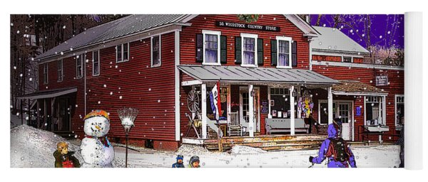 First Snow At The South Woodstock Country Store Yoga Mat