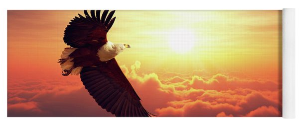 Fish Eagle Flying Above Clouds Yoga Mat