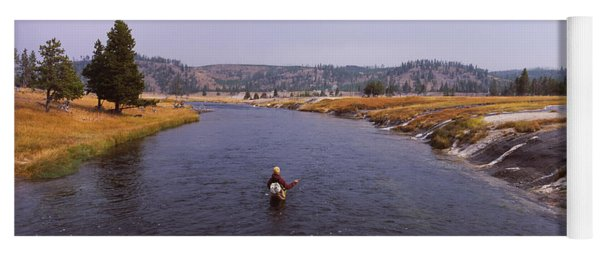 Fisherman Fishing In A River, Firehole Yoga Mat