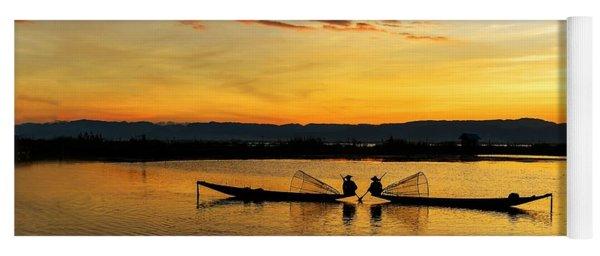 Fisherman On Their Boat Yoga Mat