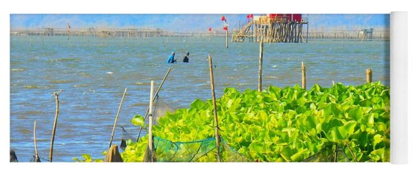 Fishermen Walking In The Laguna De Bay Lake Yoga Mat
