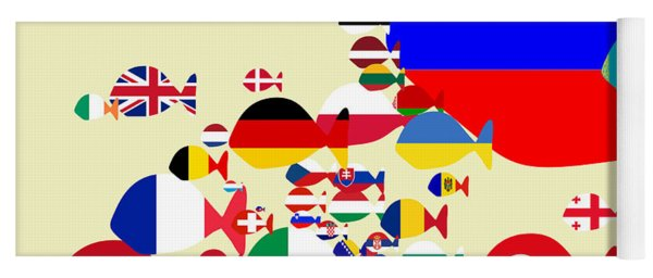 Fishes Map Of Europe Yoga Mat