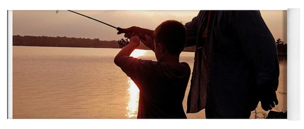 Fishing At Sunset Grandfather And Grandson Yoga Mat