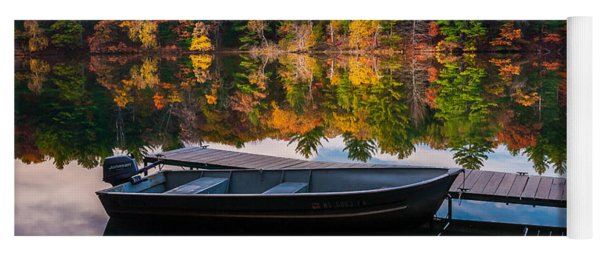 Fishing Boat On Mirror Lake Yoga Mat