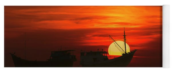 Yoga Mat featuring the photograph Fishing Boats In Sea by Pradeep Raja Prints