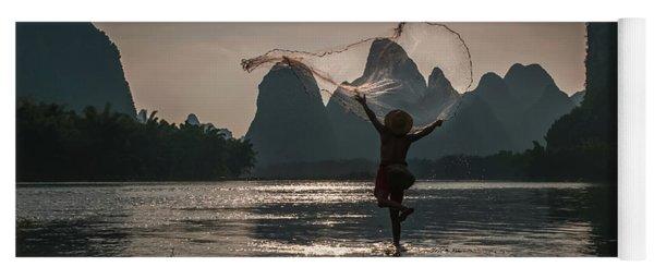 Fisherman Casting A Net. Yoga Mat