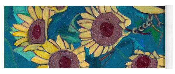 Yoga Mat featuring the painting Five Golden Rings by Denise Weaver Ross