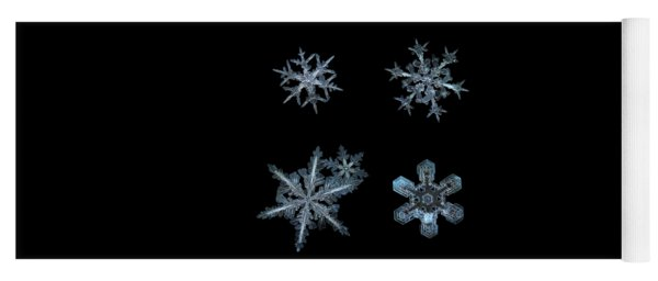Yoga Mat featuring the photograph Five Snowflakes On Black 3 by Alexey Kljatov