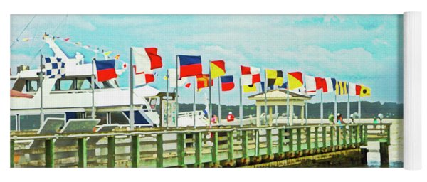 Flags At The Pier Yoga Mat