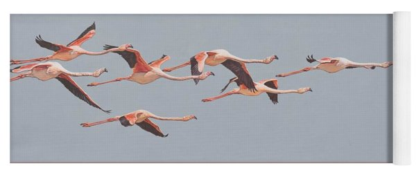 Flamingos In Flight Yoga Mat