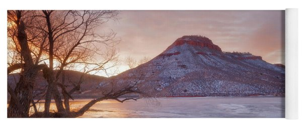 Flatiron Reservoir Winter Sunrise Yoga Mat