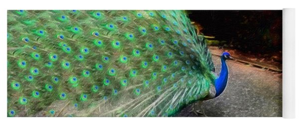 Flaunting Green Feathers Yoga Mat