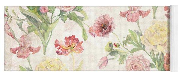 Fleurs De Pivoine - Watercolor In A French Vintage Wallpaper Style Yoga Mat