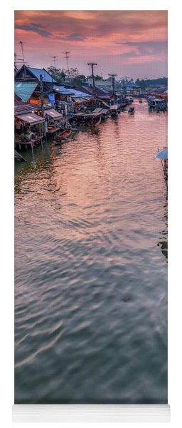 Yoga Mat featuring the photograph Floating Market Sunset by Adrian Evans