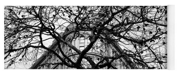 Flood Building - San Francisco - Corner Tree View Black And White Yoga Mat