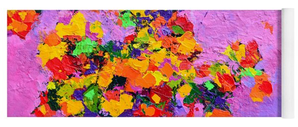 Floral Still Life - Flowers In A Vase Modern Impressionist Palette Knife Artwork Yoga Mat