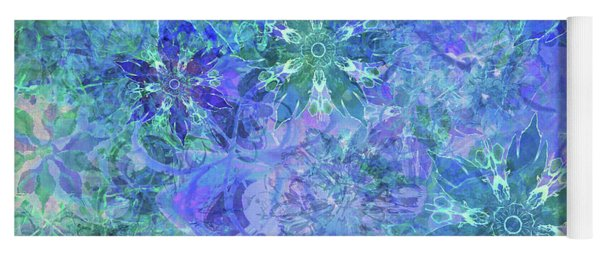 Floral Watercolor Blue Yoga Mat