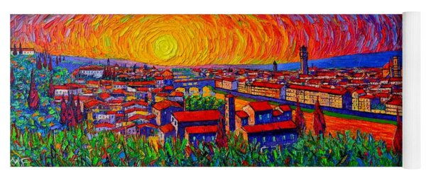 Florence Panorama At Sunset Impressionist Knife Oil Painting Italy Abstract City Ana Maria Edulescu Yoga Mat