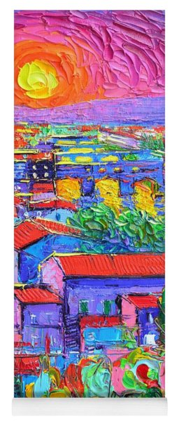 Florence Sunset Over Ponte Vecchio Abstract City Impressionism Knife Oil Painting Ana Maria Edulescu Yoga Mat
