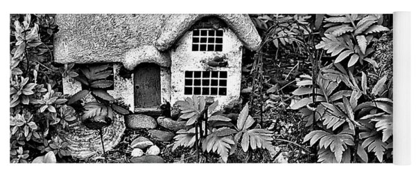Flower Garden Cottage In Black And White Yoga Mat