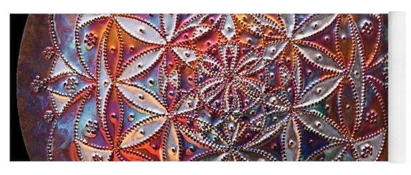 Yoga Mat featuring the sculpture Flower Of Life Copper Lightmandala by Robert Thalmeier