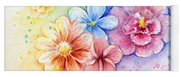 Flower Power Watercolor Yoga Mat