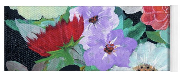 Yoga Mat featuring the painting Floweret by Robin Maria Pedrero