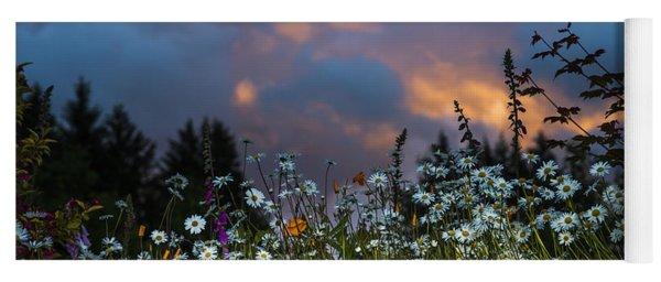Flowers At Sunset Yoga Mat
