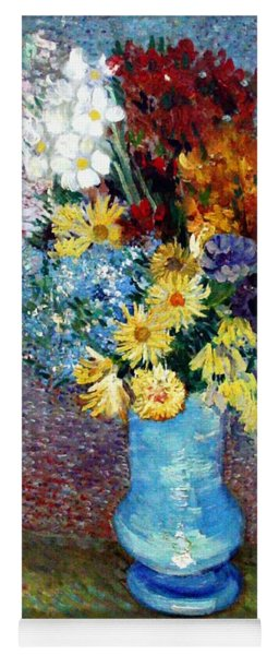 Yoga Mat featuring the painting Flowers In A Blue Vase  by Van Gogh