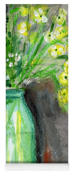 Flowers In A Green Jar- Art By Linda Woods Yoga Mat