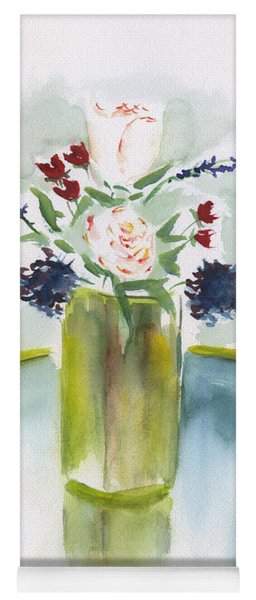 Flowers In A Yellow Vase Yoga Mat