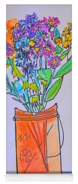 Flowers In An Orange Mason Jar Yoga Mat