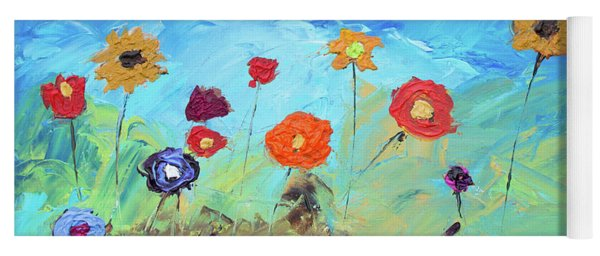 Flowers In The Meadow Modern Impressionistic Painting Yoga Mat