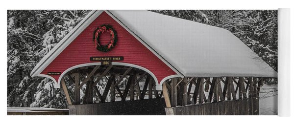 Flume Covered Bridge In Winter Yoga Mat