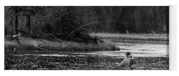 Fly Fishing Yellowstone Wy B W Yoga Mat