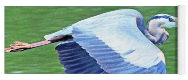 Flying Great Blue Heron Yoga Mat