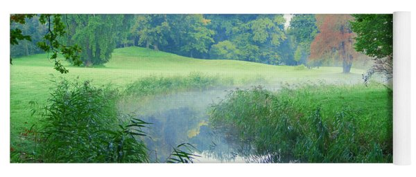 Fog Along A Creek In Autumn Yoga Mat