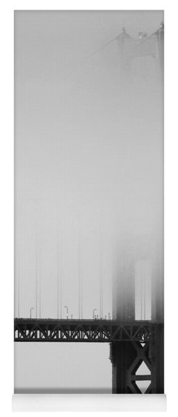 Fog At The Golden Gate Bridge 4 - Black And White Yoga Mat