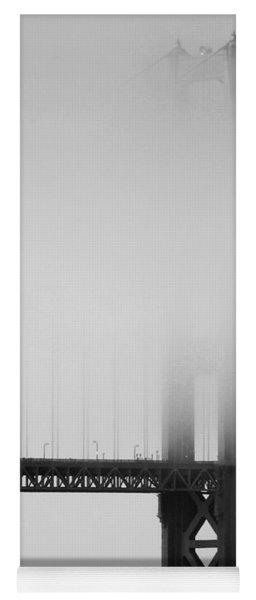 Fog At The Golden Gate Bridge 4 - Black And White Yoga Mat